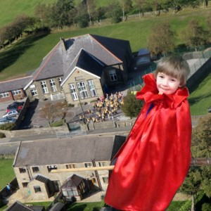 Flying over Hade Edge School